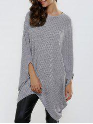 Batwing Sleeve Ribbed Asymmetrical Loose-Fitting Knitwear