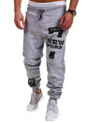 Letter Print Drawstring Mid Rise Jogger Pants - LIGHT GRAY