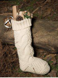Casual Flanging Hemp Flowers Knitted Christmas Supplies Decorative Sock -