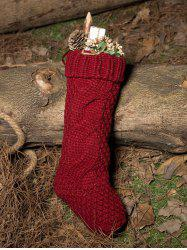 Casual Flanging Hemp Flowers Knitted Christmas Supplies Decorative Sock - WINE RED