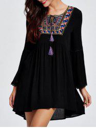 Bell Sleeve Ethnic Print Tassel Casual Mini Dress