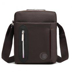 Zip Nylon Messenger Bag - COFFEE