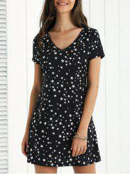 A-Line Star Pattern Mini Dress - BLACK