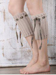 Casual Ethnic Lace-Up Reeved Knitted Boot Cuffs -