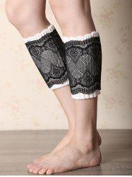 Casual Button Double-Deck Lace Knitted Boot Cuffs -