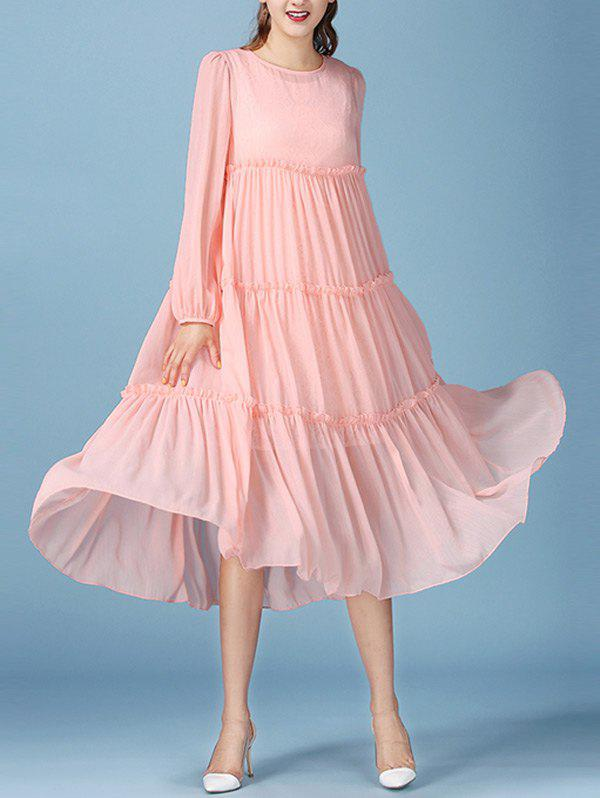 Hot Fairy Lace Tank Dress with Long Sleeve Pleated Smock Flowy Dress