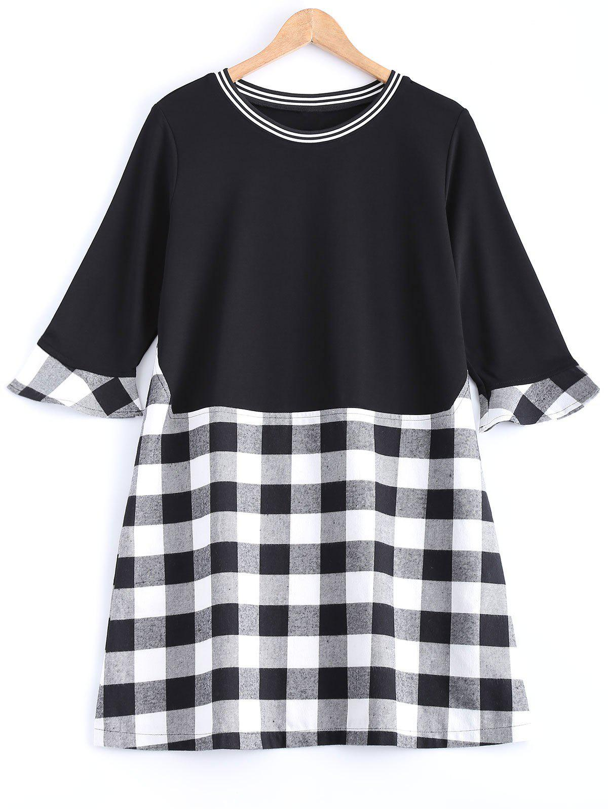 Fashion Plaid Flare Sleeve Long Tee
