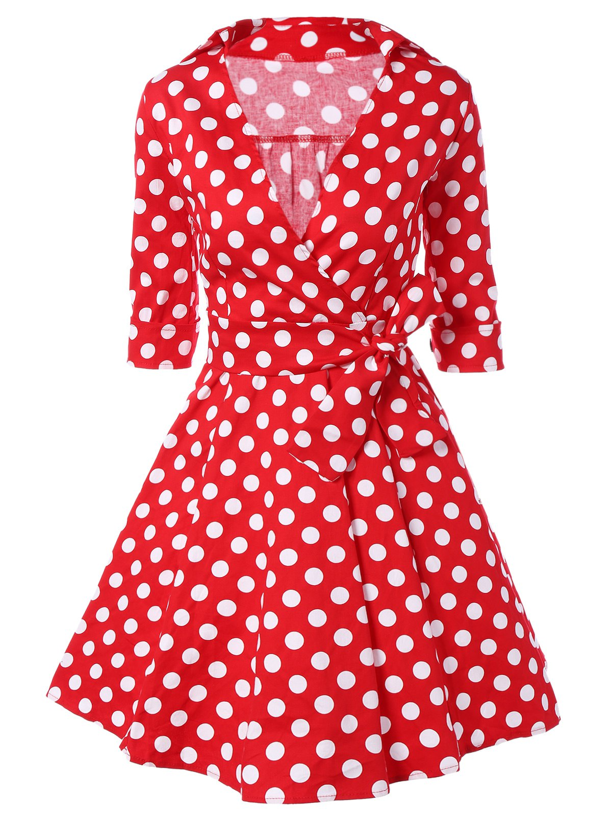 Fashion Low Cut Polka Dot Swing Dress