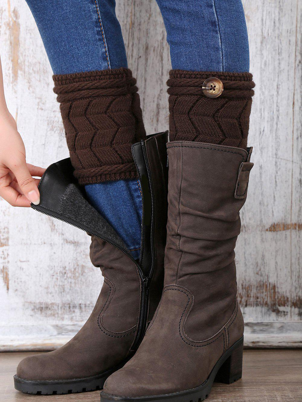 Trendy Casual Button Letter W Shape Knitted Boot Cuffs
