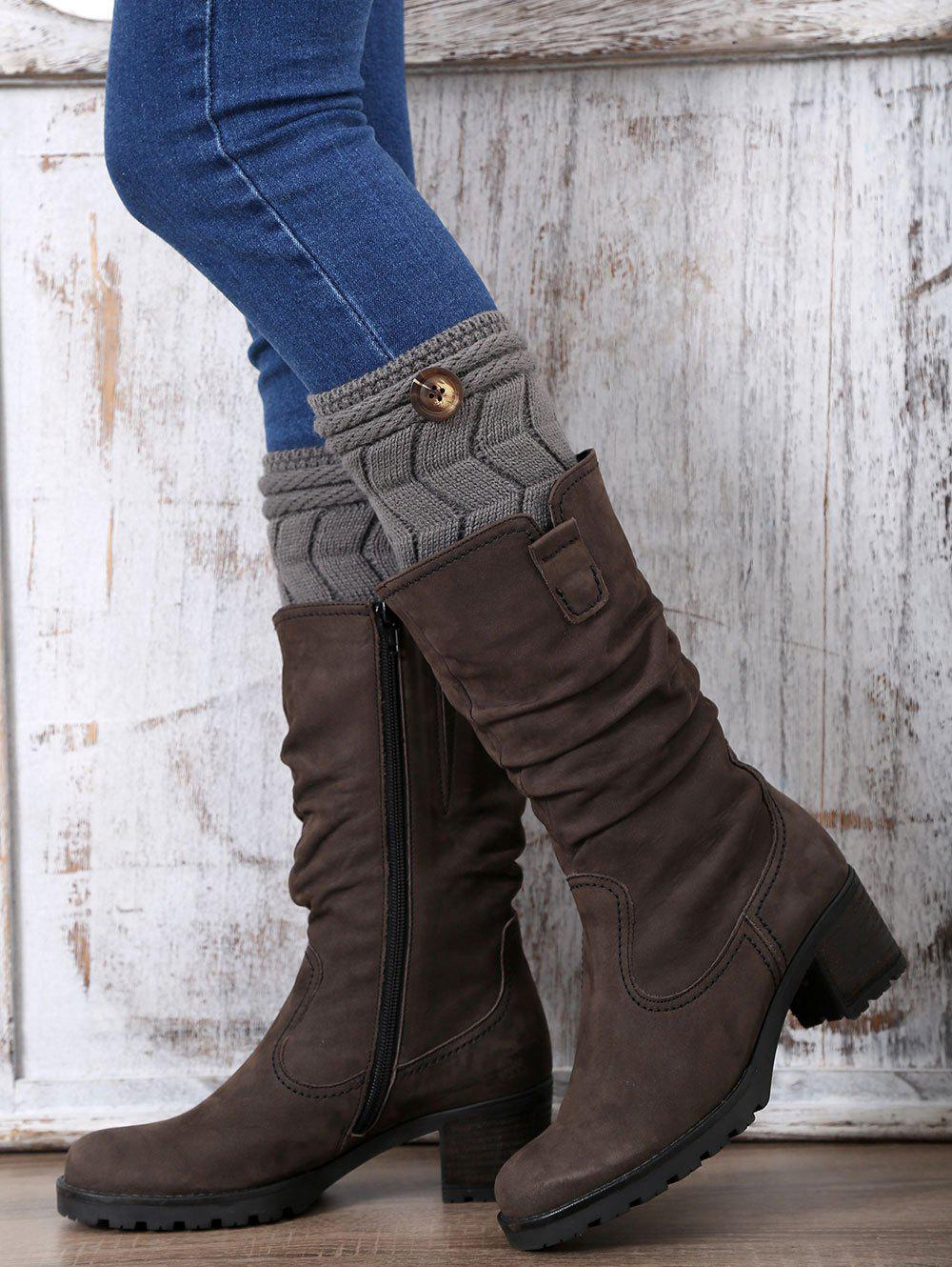 Unique Casual Button Letter W Shape Knitted Boot Cuffs