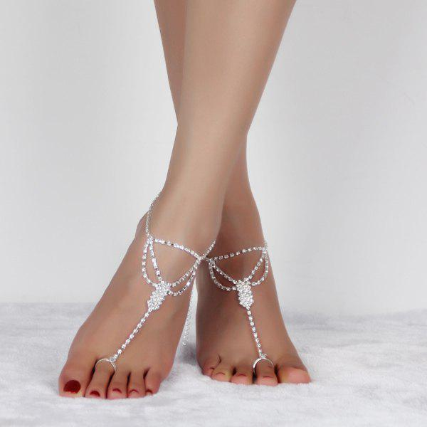 Online Rhinestoned Hollow Out Anklets