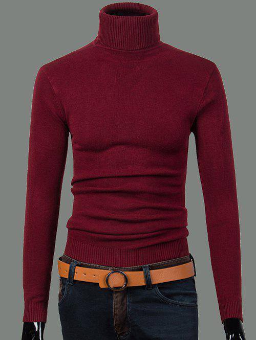 Turtleneck à manches longues Ribbed Sweater