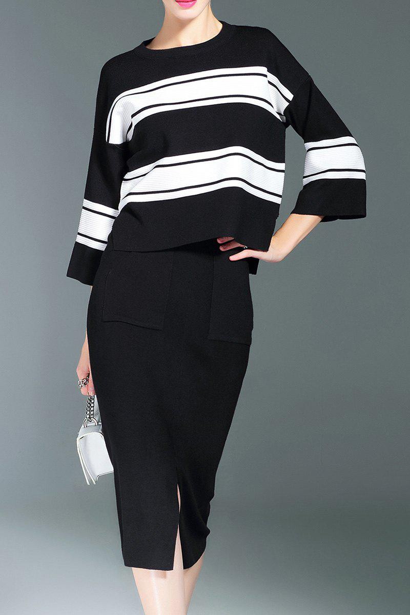 Fashion Striped Sweater and Slit Midi Bodycon Skirt