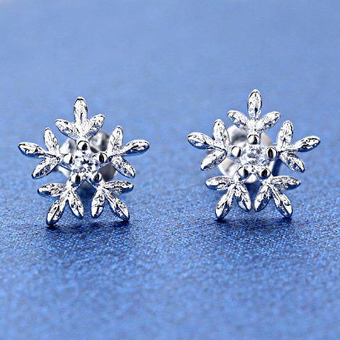 Rhinestone Snowflake Stud EarringsJEWELRY<br><br>Color: SILVER; Earring Type: Stud Earrings; Gender: For Women; Style: Romantic; Shape/Pattern: Others; Weight: 0.030kg; Package Contents: 1 x Earring (Pair);