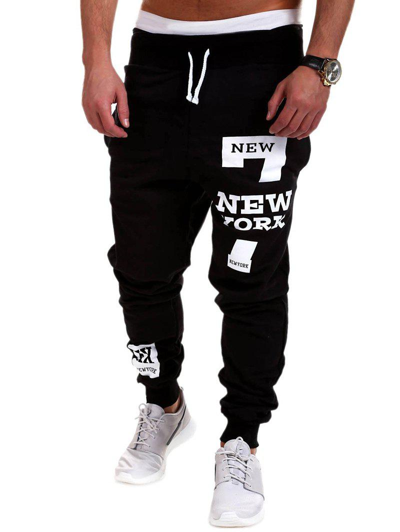 Letter Print Drawstring Mid Rise Jogger PantsMEN<br><br>Size: 3XL; Color: BLACK; Style: Casual; Pant Style: Jogger Pants; Pant Length: Long Pants; Material: Cotton Blends; Fit Type: Loose; Front Style: Flat; Closure Type: Drawstring; Waist Type: Mid; With Belt: No; Weight: 0.3570kg; Package Contents: 1 x Pants;