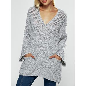 V Neck Textured Loose Sweater
