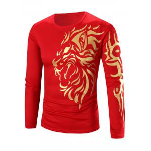 Tattoo Style Golden Tiger Print Round Neck Long Sleeve T-Shirt For Men
