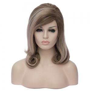 Medium Ombre Color Side Parting Wavy Synthetic Wig