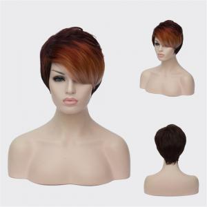 Multi Short Fluffy Side Bang Straight Synthetic Wig - Colormix