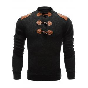 Ribbed Shoulder Patch Claw Button Long Sleeve Sweater - Deep Gray - Xl