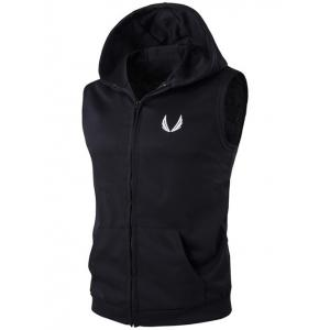 Hooded Embroidery Zip-Up Waistcoat - Black - M
