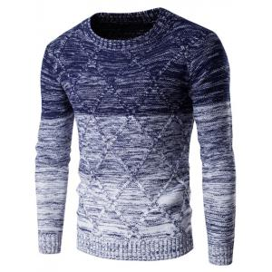 Round Neck Knit Blends Ombre Kink Design Long Sleeve Sweater - Cadetblue - Xl