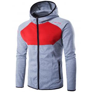 Hooded Color Block Spliced Long Sleeve Letter Print Zip-Up Hoodie