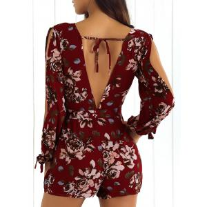 Front Tied Flower Print Long Sleeve Pants Romper