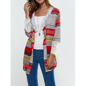 Lace Splicing Colorful Print Thin Cardigan