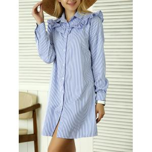 Long Sleeve Striped Ruffles Shirt Dress