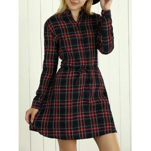 Long Sleeves Drawstring Checkered Shirt Dress