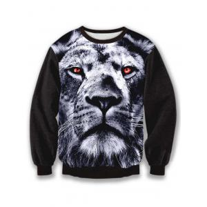 Crew Neck Long Sleeve Animal 3D Print Sweatshirt