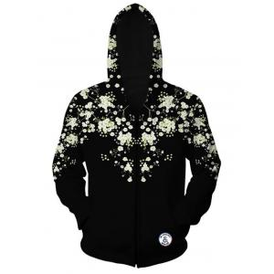 Floral Printed Zippered Long Sleeve Hoodie