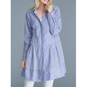 Pinstriped Loose-Fitting Pocket Design Blouse