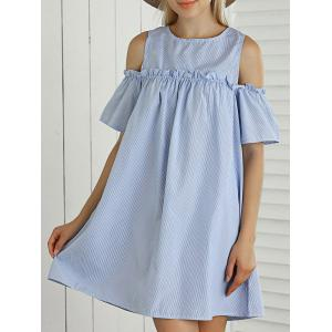 Striped Cut Out Ruffled Casual Dress For Summer