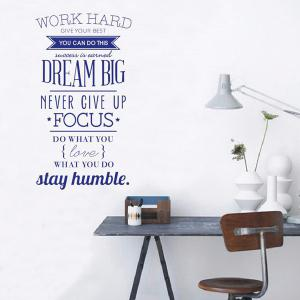 Work Hard English Encouragement Proverb Study Room Wall Sticker