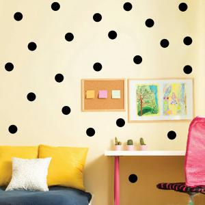 Creative 10CM Width Polka Dot Design Art Bedroom Wall Sticker - Black