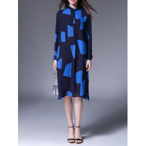 Color Block Loose Long Sleeve Shirt Dress - Purplish Blue - M