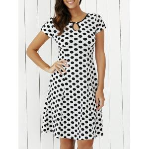 Keyhole Polka Dot Print Short Sleeve A Line Dress