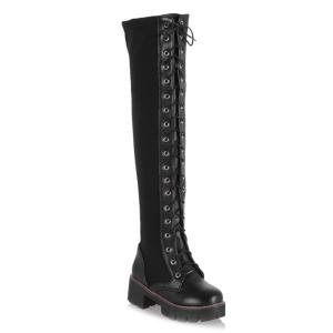 Splicing Criss Cross Lace Up Boots - Black - 39