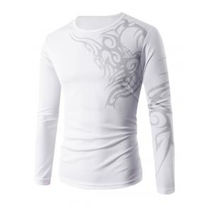 Slim Fit Long Sleeve Tattoo Print T-Shirt - White - Xl
