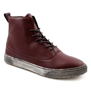 Lace-Up PU Leather Short Boots - Wine Red - 43