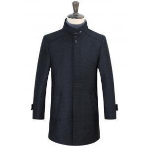 Stand Collar Belt Embellished Covered Button Coat - Deep Gray - 3xl