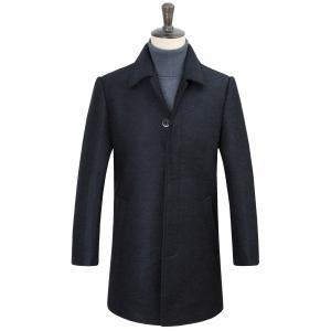 Turn-Down Collar Covered Button Woolen Coat
