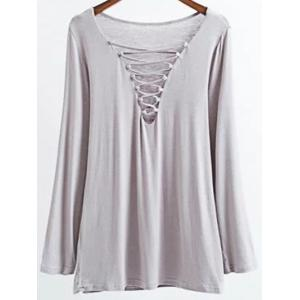 Long Sleeves Lace-Up T-Shirt