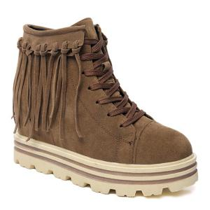 Hidden Wedge Fringe Lace Up Short Boots