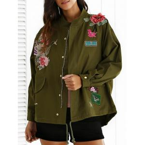 Stand Neck Rivet Embroidered Patchwork Coat - Army Green - S