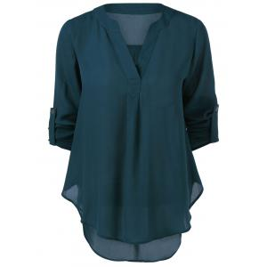 V Neck High-Low Blouse - BLACKISH GREEN XL