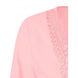 Lace Patchwork Peasant Top - SHALLOW PINK 5XL