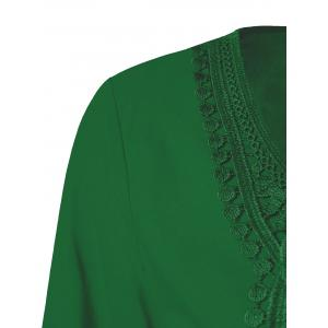 Lace Patchwork Peasant Top - EMERALD 5XL